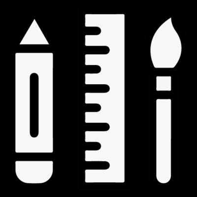 icono de lapiz, regla y pincel