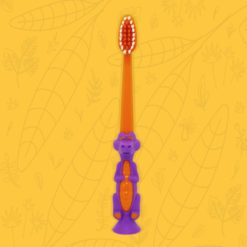 Cepillo dental infantil con forma de cocodrilo color naranja púrpura